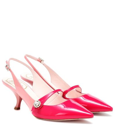 Jewel Button leather slingback pumps