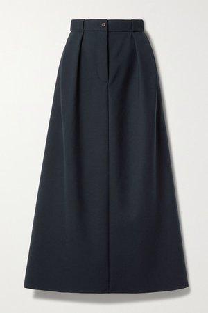 Jakko Pleated Wool-blend Midi Skirt - Navy