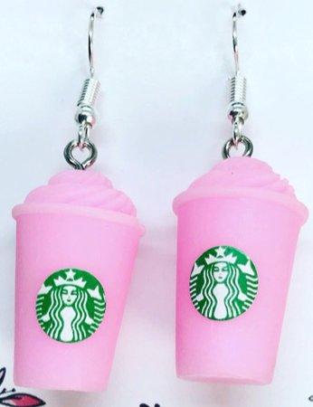 pink Starbucks earrings