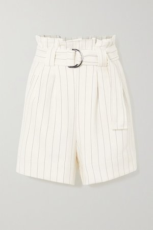 Belted Pinstriped Crepe Shorts - Ivory