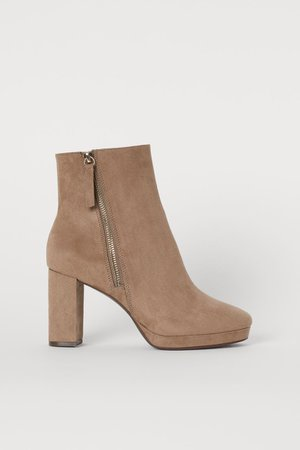 Block-heeled Ankle Boots - Taupe - Ladies | H&M US