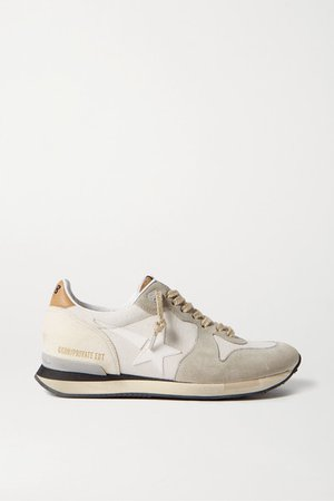 Running Canvas, Leather And Suede Sneakers - Neutral