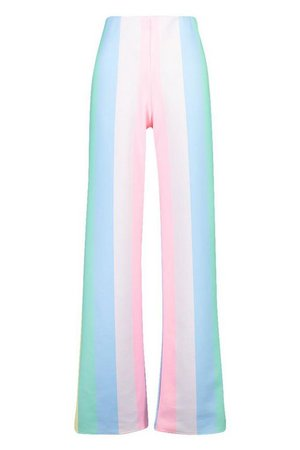 Pastel Stripe Wide Leg Trousers | Boohoo blue
