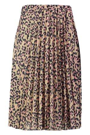 Plus Leopard Print Pleated Midi Skirt | boohoo