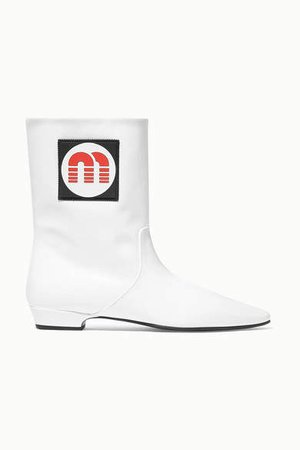 Logo-appliqued Patent-leather Ankle Boots - White