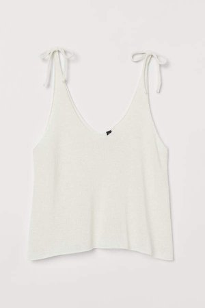 Knit Camisole Top - White