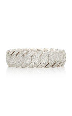 18K White Gold Diamond Wave Bracelet by Sidney Garber   Moda Operandi