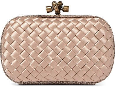 The Mini Knot Watersnake-trimmed Intrecciato Satin Clutch - Blush