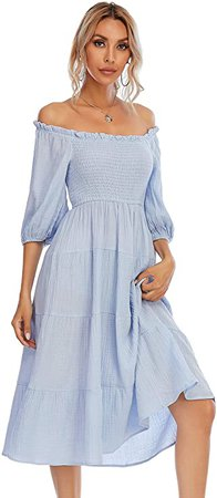 R.Vivimos Women's Summer Linen Lantern Sleeves Ruffled Off Shoulder A-Line Midi Dresses (Large, SkyBlue) at Amazon Women's Clothing store