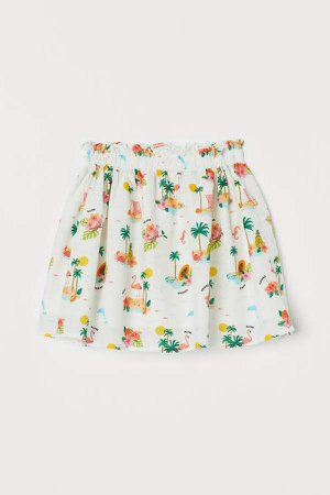 Patterned Cotton Skirt - White