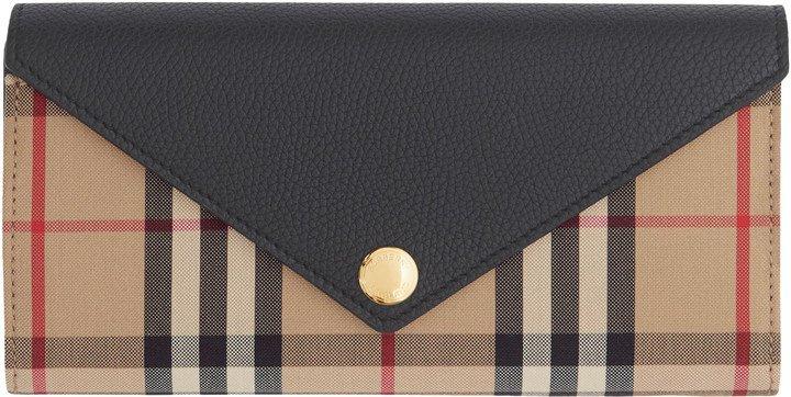 Halton Check & Leather Continental Wallet