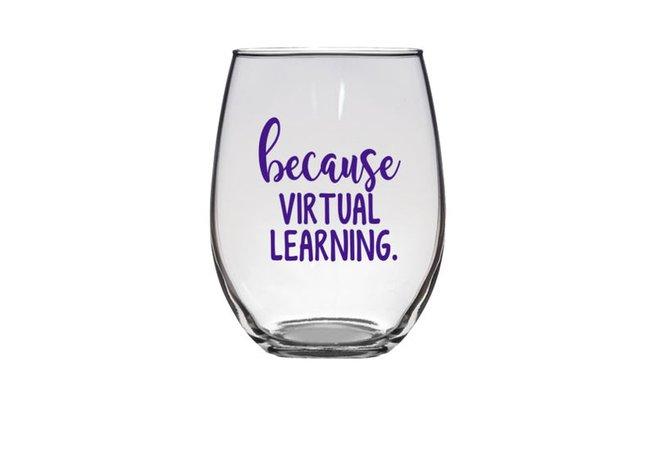 Teacher Wine Glass Because Virtual Teaching Gift for Teacher | Etsy