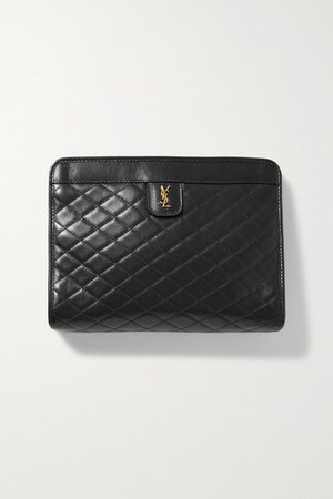 Quilted Leather Clutch - Black
