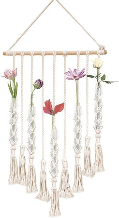 Amazon.com: 23 Bees   Macrame Wall Hangings Test Tube Vase   Hanging Glass Flower Container   Boho Fringe Decor Planter for Bedroom   Woven Crochet Rope Art Tapestry Decorations for Room: Home & Kitchen