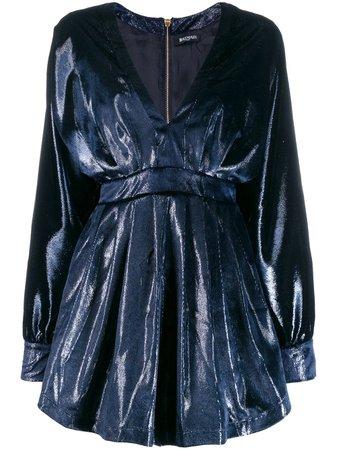 Balmain V-Neck Velvet Mini Dress Aw19