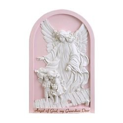 Angel of God, My Guardian Dear Plaque in Pink - FindGift.com