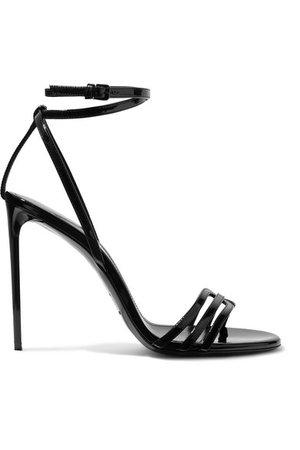 Saint Laurent | Amber patent-leather sandals | NET-A-PORTER.COM