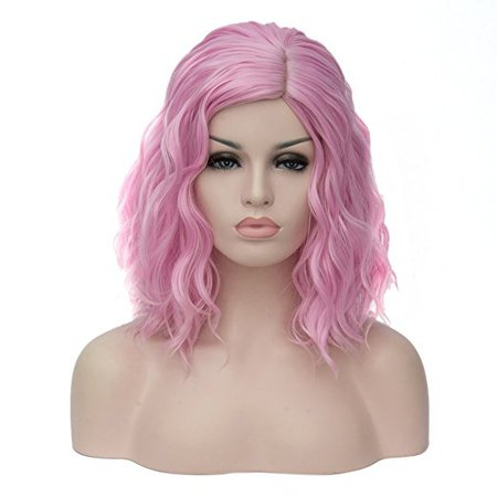 TopWigy Women's Cosplay Wig Medium Length Curly Body Wave Colorful Heat Resistant Hair Wigs Costume Party Bob Wig+Wig Cap(Pink)