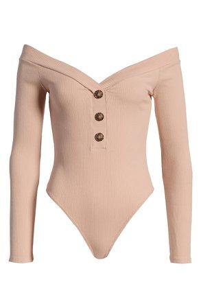 Lulus Lilyth Off the Shoulder Ribbed Bodysuit | Nordstrom
