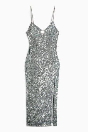 Sequin Keyhold Midi Dress   Topshop