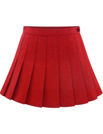 Red Buttons Pleated Skirt