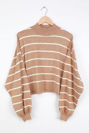 Tan Striped Sweater - Mock Neck Sweater - Balloon Sleeve Top - Lulus