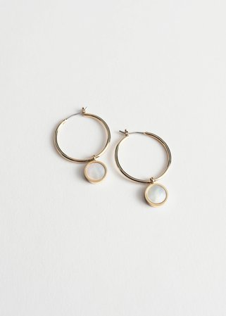 Shell Pendant Hoop Earrings - Gold - Hoops - & Other Stories