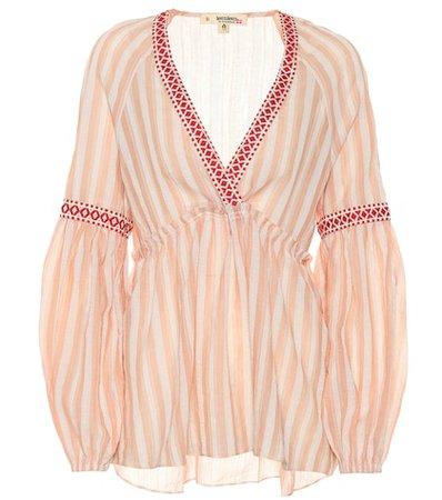 Nefasi striped cotton-blend blouse