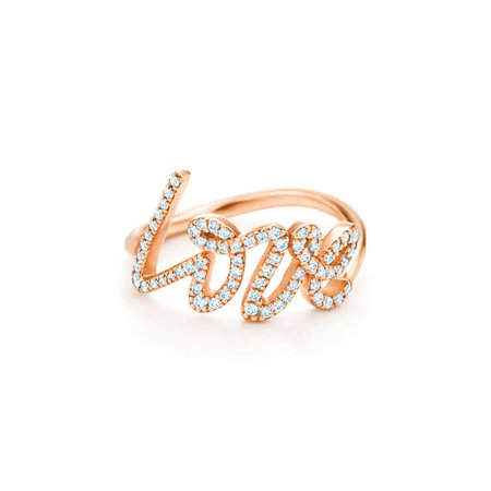 Paloma's Graffiti love ring in 18k rose gold with diamonds, small. | Tiffany & Co.