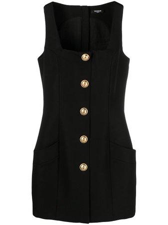 Balmain square-neck sleeveless dress - FARFETCH