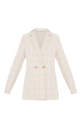 Stone Checked Woven Blazer | Coats & Jackets | PrettyLittleThing