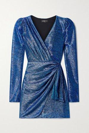 Wrap-effect Draped Metallic Lame Mini Dress - Blue