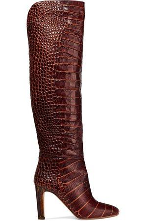 Gabriela Hearst | Linda croc-effect leather knee boots | NET-A-PORTER.COM