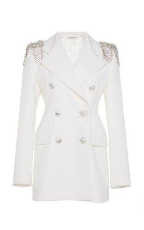 7 ALESSANDRA RICH Crystal-embellished wool-crepe blazer