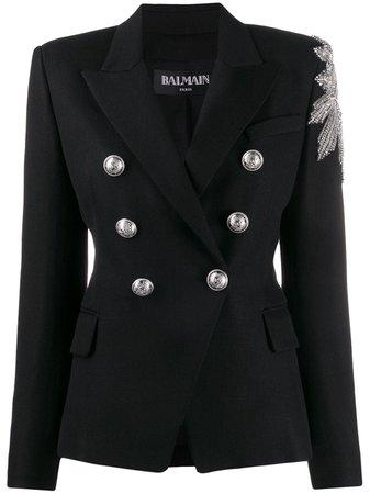 Black Balmain Embellished Double-breasted Blazer | Farfetch.com
