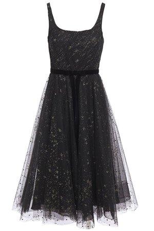 Black Velvet-trimmed glitter-embellished flocked tulle midi dress | Sale up to 70% off | THE OUTNET | MARCHESA NOTTE | THE OUTNET