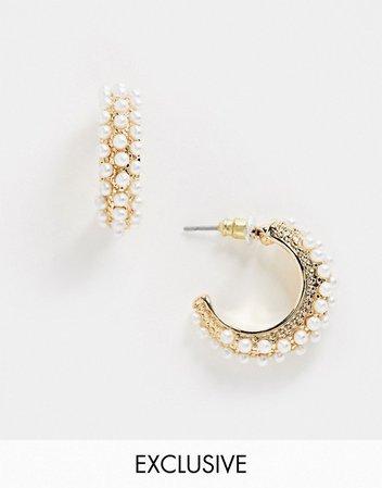 Warehouse pearl encrusted hoop earrings in gold | ASOS