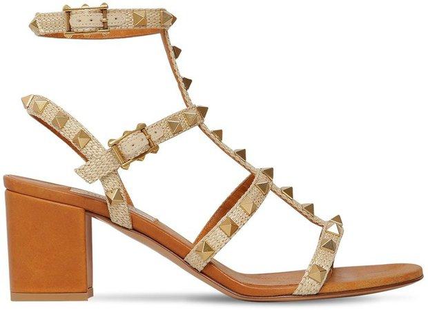 60mm Rockstud Woven Textile Sandals