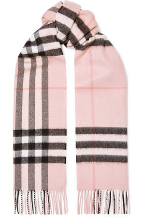 Burberry | Fringed checked cashmere-twill scarf | NET-A-PORTER.COM