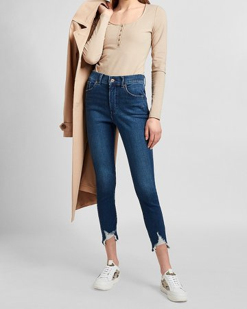High Waisted Knit Ripped Raw Hem Cropped Skinny Jeans