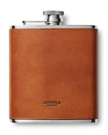 Shinola Leather-Wrapped Hip Flask