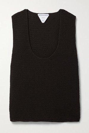 Crocheted Cotton-blend Tank - Dark brown