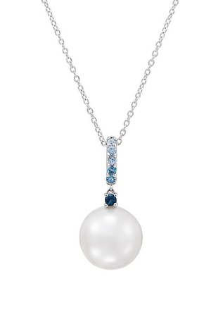 Belk & Co. 17.75 ct. Ming Pearl with 1/3 ct. t.w. Blue Topaz Pendant Necklace in Sterling Silver