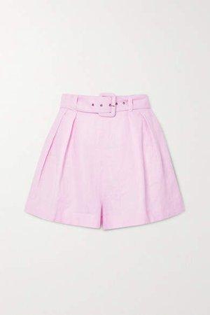 Priscilla Belted Linen Shorts - Pastel pink