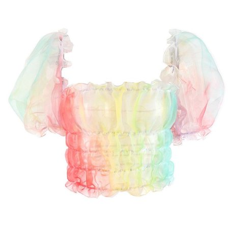 Mesh see-through top rainbow puff sleeve t-shirt · Harajuku Feclothing
