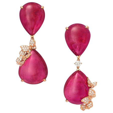 18 Karat Rose Gold, White Diamonds and Rubelites Cabochon Earrings For Sale at 1stDibs