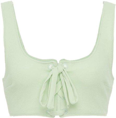 Ganni Recycled Textured Cross Bikini Top Size: 32