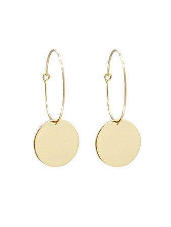 Flat Disc Hoop Earrings