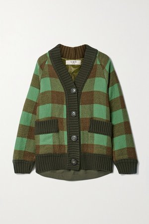 Clement Paneled Twill And Wool And Cotton-blend Jacquard Cardigan - Army green