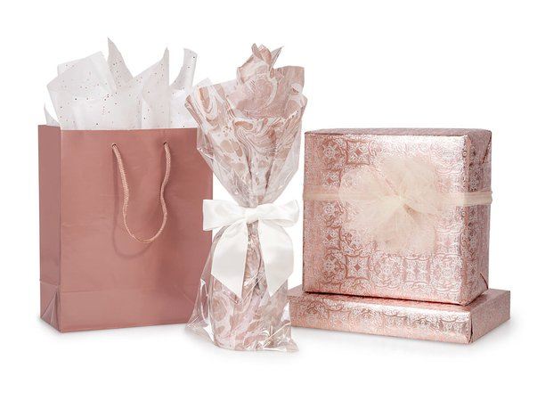 rose gold wrapped christmas gifts - Google Search
